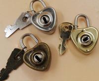 Estilo do coração Do Vintage Romântico Estilo Antigo Mini Archaize Cadeados Chave Bloqueio Com chave do Presente do Dia Dos Namorados SN2426
