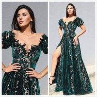 Hunter Green Lace Sexy 2019 Vestidos de noche Sheer Neck Velvet Vestidos de baile Vintage Noble Fiesta formal Vestido de dama de honor