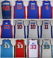 뜨거운 판매 11 Isiah Thomas Jersey 남자 40 Bill Laimbeer 10 Dennis Rodman 농구 유니폼 4 조 Dumars 33 Grant Hill Throwback Blue White