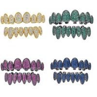 جديد كامل الأسنان لون الزركون GRILLZ الأعلى 18K الذهب أسفل فضي اللون الشوايات الأسنان الفم الهيب هوب مجوهرات مقلدة مجوهرات مغني الراب 8 أنماط