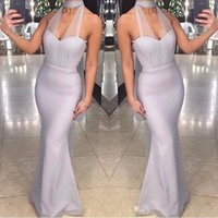 Simple Mermaid Bridesmaid Dresses Long Halter Illusion Weddi...