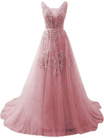 Deep V Neck Long Evening Dresses Tulle Low Back Prom Dresses...
