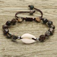Donna Shell braccialetto Handmade turchese naturale Stone Beach Seashell piedi nudi Cavigliere Bracciale ragazze gioielli regalo di Natale LJJA3639