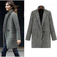 2020 New Fashion Houndstooth Wool Women Basic Coats Medium- L...