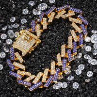15mm 3 Renkler Kişiselleştirilmiş Altın Gümüş Hip Hop Bling Elmas Küba Zincir Bilezik Erkekler Için Mavi Siyah Beyaz Bijoux Erkek Zincirleri Takı