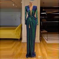 2020 Новый Зеленый Блестками Пром Платья С Длинными Рукавами Глубокий V Образным Вырезом Спереди Сплит Вечернее Платье Коктейль Платья Один Цвет Без Обесцвечивания