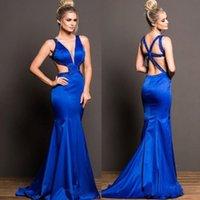 Sexy V-Neck Sereia Royal Blue Prom Vestidos Sem Mangas Personalizado Feito Frisado Vestidos de Partido Noite Criss Criss Cross Vestido especial de ocasião especial