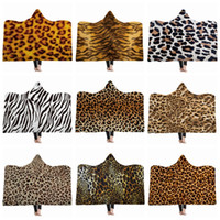 Leopard Hooded Blanket Tiger Pattern Fleece Blankets Kids Th...