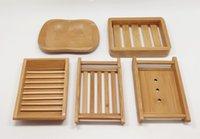 5 Estilos de jabón de bambú natural titular de Protección Ambiental de jabón de bambú natural creativo Jabonera secado sostenedor del envío TF-0012