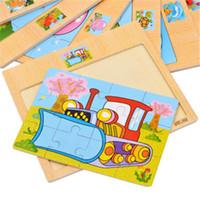 Puzzles de tráfico y animal de madera Puzzle regalos educativos del juguete del bebé del entrenamiento del juguete del rompecabezas de juguete niños libres del envío