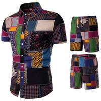 Плюс размер Лето в народном стиле Модные цветочные рубашки мужские комплекты Повседневные рубашки Костюмы Топы с коротким рукавом Однобортный костюм 5XL