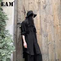 Женские блузки Рубашки [EAM] Женщины Черный Досуг Краткий Большой Размер Длинная Блузка Отворотный Рукав Свободная подходящая Рубашка Мода Прилив Весна Осень 2021