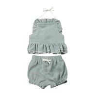 boutique abbigliamento bambini Neonati Neonata Estate Backless Halter Top Shorts Outfit Set Clothes