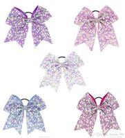 7 inch regenboog sequin cheer bogen strass boog-knoop haarbogen met elastische haarbanden voor meisjes cheerleading haaraccessoires
