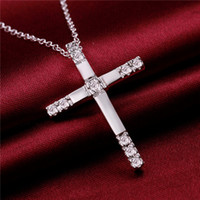 wedding Inlaid stone cross women' s sterling silver plat...