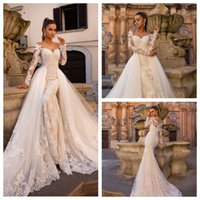 Sexy V- Neck Mermaid Wedding Dresses with Detachable Skirts T...