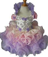 Festa de aniversário das meninas pageant cupcake dress criança bebê cristal beadings curto mini crianças formais veste