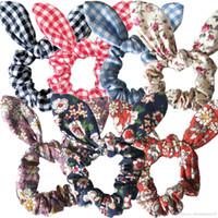 Flor Conejito Oreja Hairband Conejo Anillo de pelo Scrunchy Kids Head Wrap WeeDbands Ponillo de Ponytail Titular de las mujeres MUCHACHA MUCHACHA ACCESORIOS DE PELO DE PASCUA 25 colores