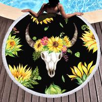 Tournesol Serviette de plage Serviettes de bain Microfibre impression ronde Tapis de yoga très épais pour Sandy Voyage plage Sunblock Couvertures Outdoor Mat pique-nique