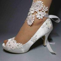Elegant White Satin Wedding Shoes Sequins Beaded Lace Ankle Straps Peep Toe High Heel Bridal Shoes Ribbon Plus Size Women Pumps Shoes AL2309