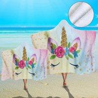 Yetişkin Çocuk Banyo Havlu Giyilebilir Plaj Wrap Battaniye Battaniye için Mikrofiber Unicorn Desen Kapşonlu Havlu Çiçek Karikatür Plaj Havlusu