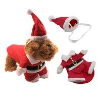 الملابس الأحمر عيد الميلاد الحيوانات الأليفة مع قبعة XS-XXL شتاء دافئ عيد الميلاد الكلب الملبس القط ملابس الكلب مضحك زي بابا نويل للكلاب القط BC VT0948