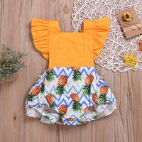 Everweekend Ins Cute Girls Pineapple Stampa Patchwork Pagliaccetti Lovely Kids Baby Summer Backless Fly Sleeve Ruffles Abbigliamento