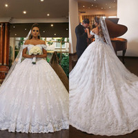 2019 White Princess Wedding Dresses Off Shoulder Lace Beads ...