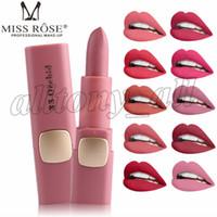 Rossetto opaco Miss Rose Marca 18 colori Labbra impermeabili Trucco Idratante Rossetto Lucidalabbra opaco Alta qualità