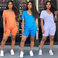Sumemr Женщины двухкусочный нарядах вскользь сплошной цвет с коротким рукавом из двух частей Брюки летние Женские костюмы