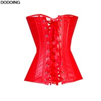 Black Red Sexy Faux Leather Corset Waist Trainer Body Shaper Overbust Slim Outfit Boned Slimming Shapewear Corsets Plus Sizes