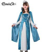 Themenkostüm Kind Pearl Princess Cosplay Teal mittelalterlich für Mädchen Halloween Kinder langes blaues Kleid Geburtstag