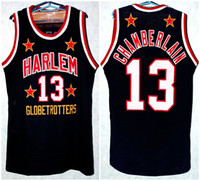 Wilt Chamberlain # 13 Retro Harlem Globetrotters Retro Basquetebol Jersey Mens Costume Personalizado Qualquer Número Nome Jerseys