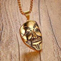 Mprainbow Mens Ожерелья из нержавеющей стали V Для вендетта Маска Подвеска Ожерелье Золото Тона Мода Ювелирные Изделия для Женщин или Мужчин Коллер