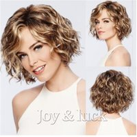 Joy&luck Short Water Wave Curly Synthetic Wigs for Women Bro...