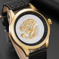 Moda Top Brand Uomini Guarda Golden Dragon 3D Sculpture Dial Luxury Watch Uomo polso unico per orologio maschile Relogio Masculino