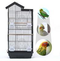 """Toptan Ücretsiz Kargo 39 """"Kuş Papağan Kafesi Kanarya Parakeet Cockatiel Lovebird Finch Kuş Kafesi Ahşap Tünemiş Gıda Bardakları Siyah"""