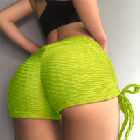 Femmes Yoga Shorts Taille Haute Tissage Jacquard Sports Fitness Shorts Running Tigh Sportswear Gym Trunks Legging Dames Casual Shorts