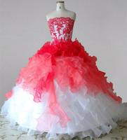 Blanc et rouge longue robes fille fleur bretelles dentelle organza Ruffles robe de bal de fête d'anniversaire Robes Taille personnalisée