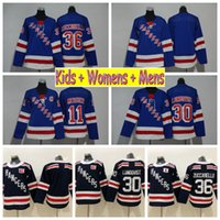 2018 Inverno Clássico Juventude New York Rangers Hóquei Jerseys 30 Henrik Lundqvist 36 Mats Zuccarello 11 Mark Messier Crianças Womens Camisas Dos Homens