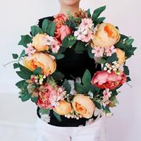 Yapay Çiçek Garland İpek Çelenkler Kapı Parti Duvar Pencere Süsleme Düğün Dekorasyon Çelenkler XD23189 Asma