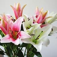 높은 백합 꽃 platic 인공 꽃은 홈 테이블 장식 흰색 플로레스는 가짜 꽃을 artificiais 추천