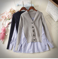 Neues Design Frauen Herbst gestrickt V-Ausschnitt Patchworkstreifen asymmetrische unregelmäßige Pullover Bluse Topcoat lose koreanische casacos
