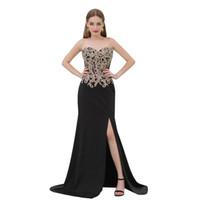 MB002 우아한 이브닝 드레스 정장 2019 슬리퍼와 골드 블랙 레이스 댄스 파티 복장 dresses 의상 dresses vestidos de fiesta