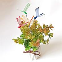 yq00957 ملونة 3D الاصطناعية الحشرات الديكور حديقة في الهواء الطلق ساحة اناء للزهور ديكور المنزل والحديقة اليعسوب أداة