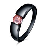 Vintage rosso blu viola giallo verde zircone cz 18krgp bollo nero oro riempito diamante anello di fidanzamento strass anello di fidanzamento per le donne uomini