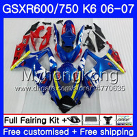 Body for Suzuki GSXR 750 600 GSX R600 R750 GSXR750 06 07 296HM.0 GSX-R600 06 07 GSXR-750 K6 GSXR600 2007 2007 Fairings Kit Factory Blue Red