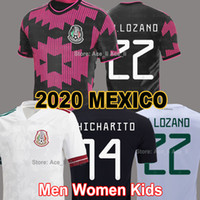 2020 2021 멕시코 홈 키트 축구 유니폼 골드 컵 블랙 chicharito lozano Marquez Dos Santos National Men + Kids 세트 핑크 축구 셔츠 카메인