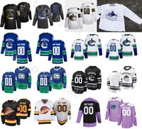 맞춤형 황금 판 밴쿠버 Canucks 아이스 하키 43 Quinn Hughes Jersey 남자 25 Jacob Markstrom 70 Tanner Pearson 18 Jake Virtanen