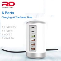 65W 6 USB Быстрое зарядное устройство HUB Quick Charge 3.0 6 Порт Multiple USB зарядное устройство Тип C PD зарядное устройство Зарядное устройство Каррегадор Portatil